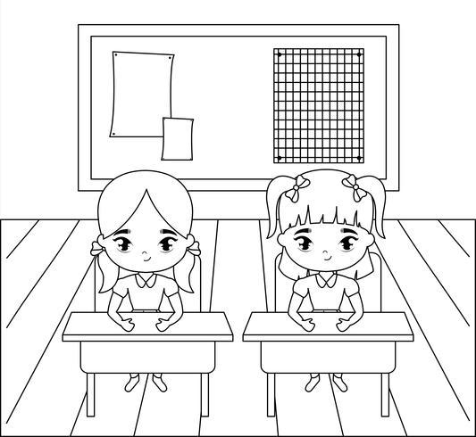 kleine Studentinnen in der Klassenzimmerszene vektor