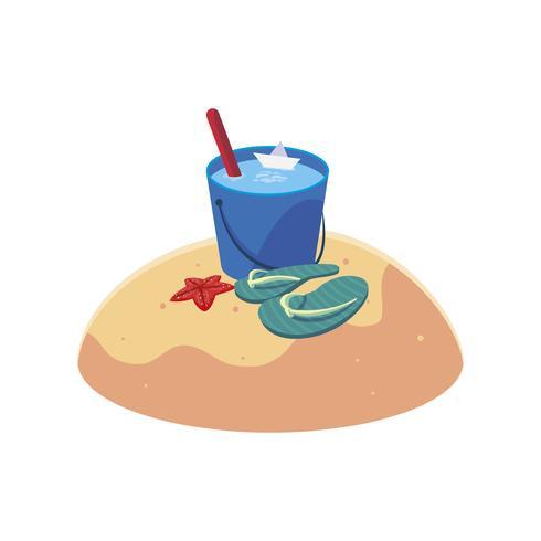 Sommersandstrand mit Wassereimerszene vektor