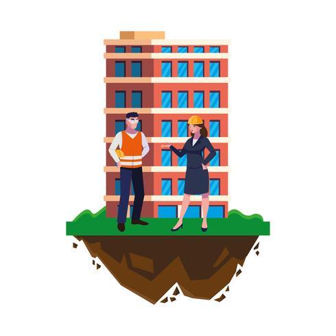 manlig byggmästare med kvinnaingenjör och byggnad vektor