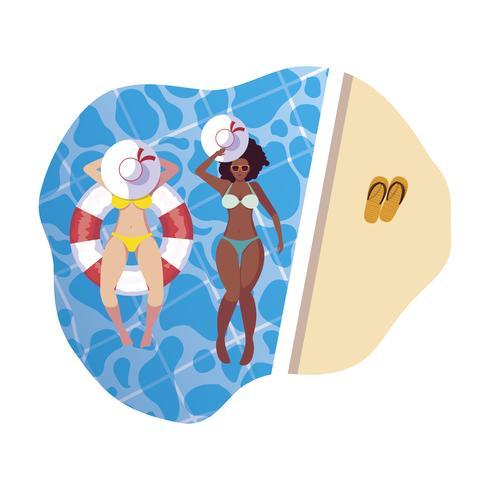 Interracial Girls mit Badeanzug und Bademeister schwimmen im Wasser vektor