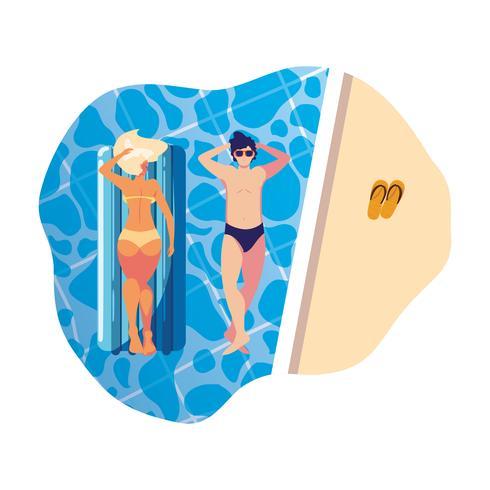 junges Paar mit Schwimmermatratze im Pool vektor