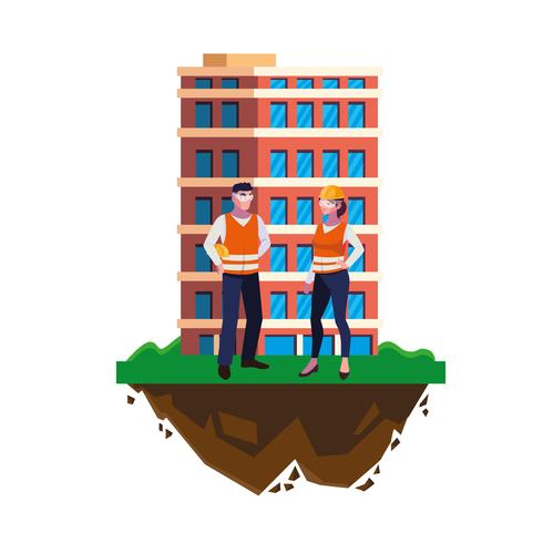 paar Bauherren Bauarbeiter mit Gebäude vektor