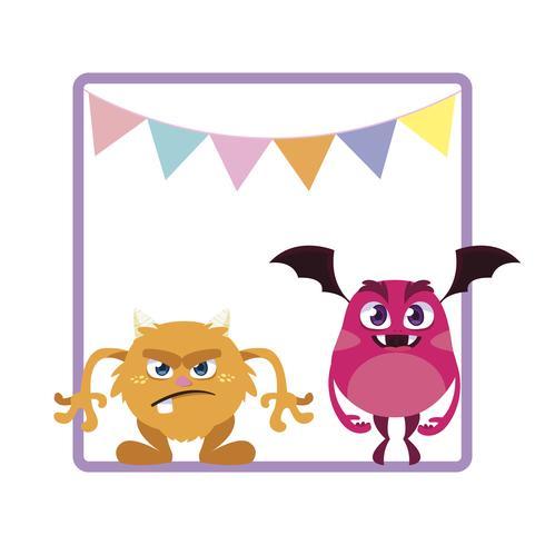 quadratischer Rahmen mit lustigen Monstern und dem Girlandenhängen vektor