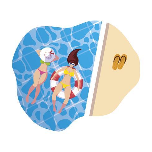 Mädchen mit Badeanzug und Bademeister schwimmen im Wasser vektor