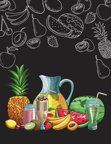 handritad frukt och dryck vektor