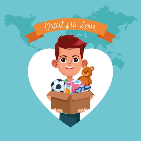 Kid donation välgörenhet tecknad vektor