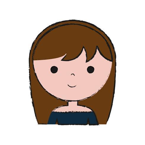 tecknad kvinna ikon vektor