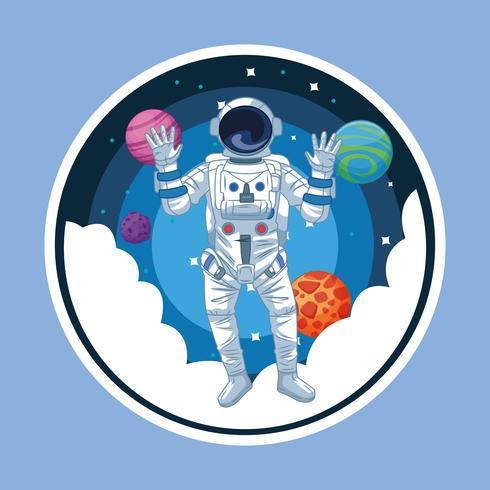 Astronaut in der runden Ikone der Galaxiekarikatur vektor