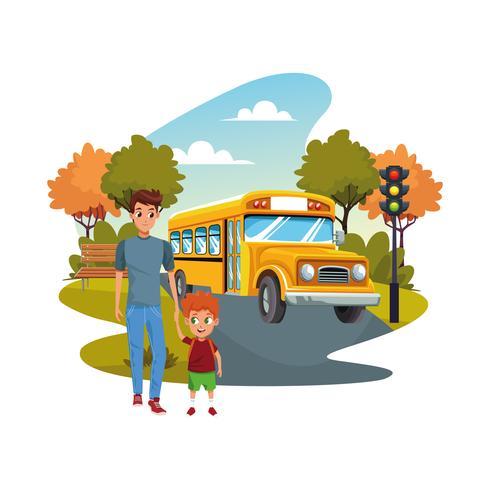 tillbaka till skolan med lycka och far son och skolbuss vektor