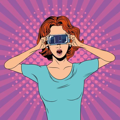 Kvinna med virtual reality-glasögonteknologi vektor