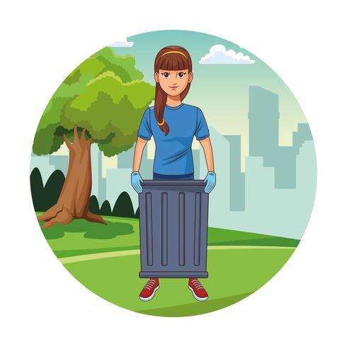 Freiwillige Mädchenkarikatur der Parkreinigung vektor