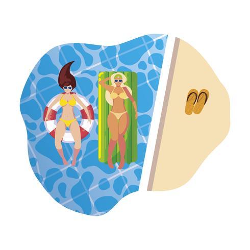 Mädchen mit Badeanzug im Bademeister und Matratze schwimmt im Wasser vektor