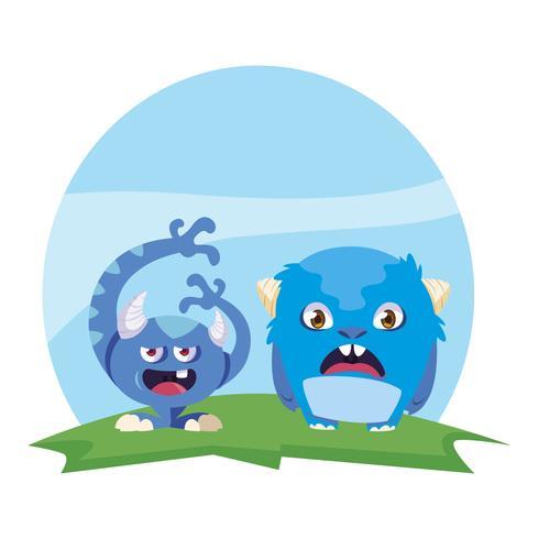 roliga monster par i fältet karaktärer färgglada vektor