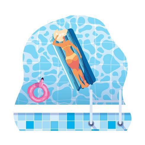 kvinna garvning i flottörmadrass flyter i vatten vektor