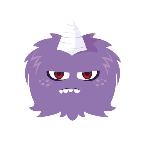 lustiges Monster mit Horn-Comic-Figur vektor
