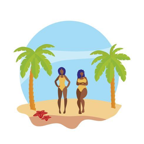 junge Afro-Mädchen Paar am Strand Sommerszene vektor