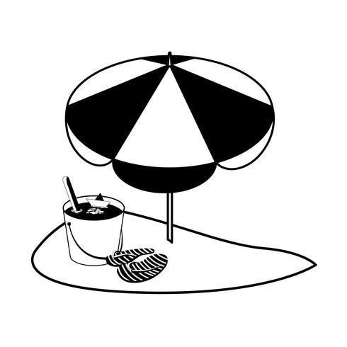 Sommersandstrand mit Sonnenschirm und Flip-Flops vektor