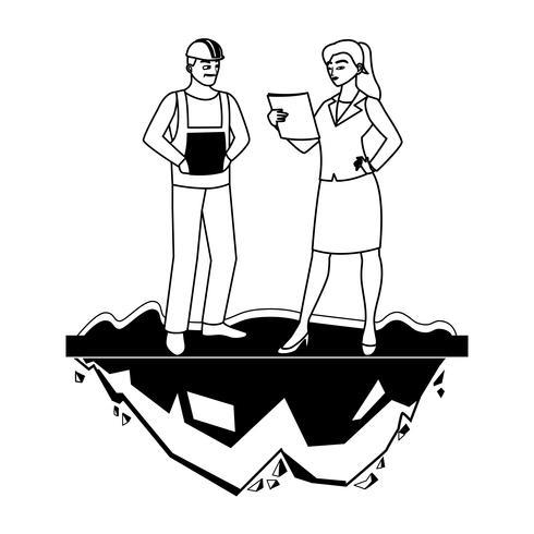 manlig byggmästare med kvinnotekniker vektor