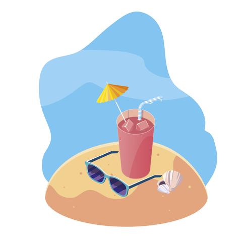 sommar sandstrand med cocktail och ikoner scen vektor