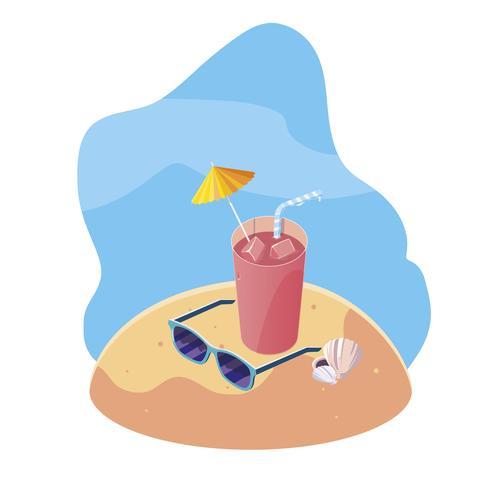 Sommersandstrand mit Cocktail- und Ikonenszene vektor