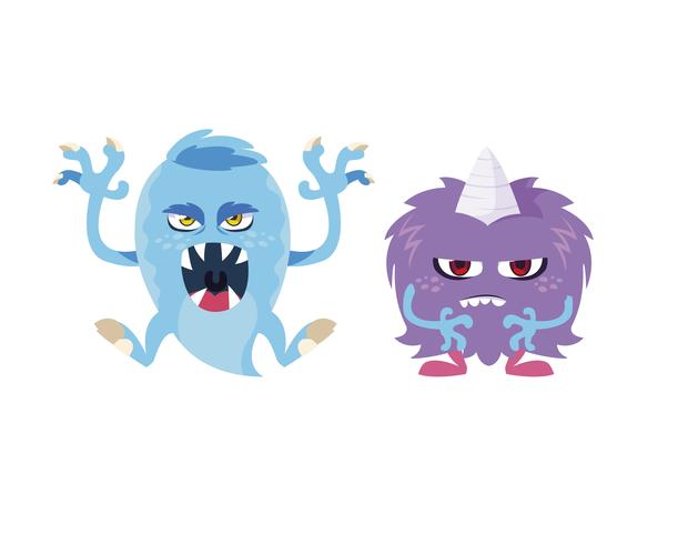 roliga monster par komiska karaktärer färgglada vektor