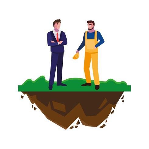 Erbauererbauer mit Ingenieur auf dem Rasen vektor