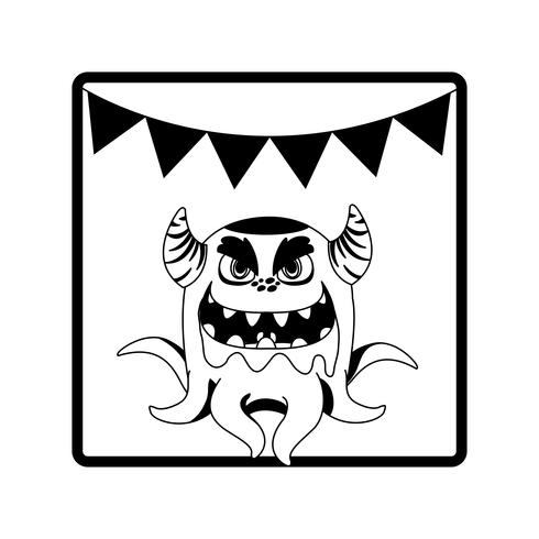 fyrkantig ram med monster- och hornpartirlander vektor