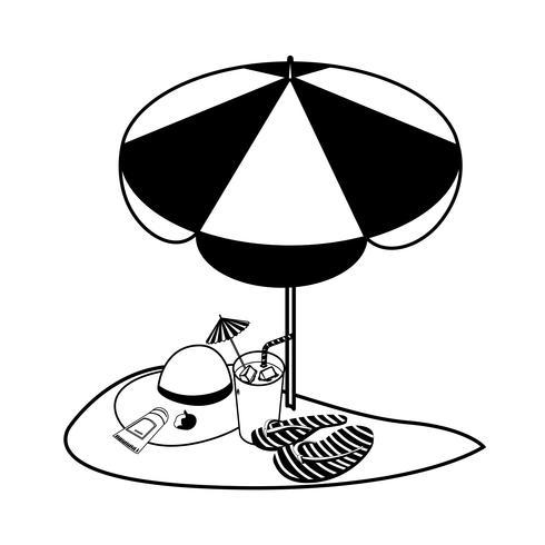 sommarsandstrand med paraply och flip flops vektor