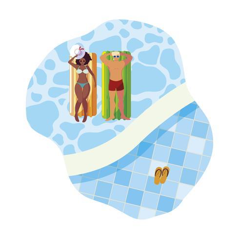 Interracial Paar mit Matratze im Wasser zu schweben vektor