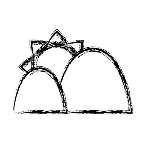 Berge und Sonne-Symbol vektor