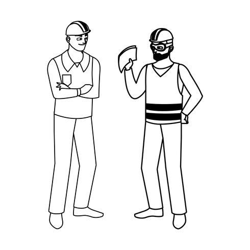 manliga byggare konstruktörer arbetare karaktärer vektor