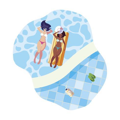 vackra interracial flickor med flottörmadrass i vatten vektor
