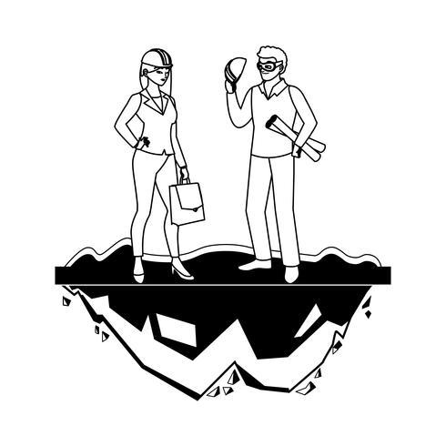 weibliche Erbauer Erbauer Arbeiter mit Architekt Chef vektor
