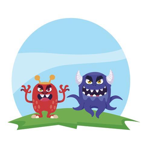 lustige Monsterpaare in den Feldcharakteren bunt vektor