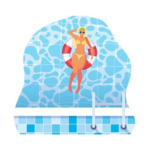 Frau mit Badeanzug und Rettungsschwimmer schwimmt im Wasser vektor