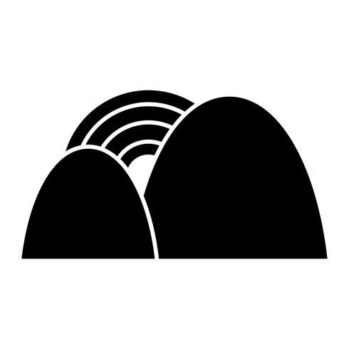 Berge und Regenbogen-Symbol vektor