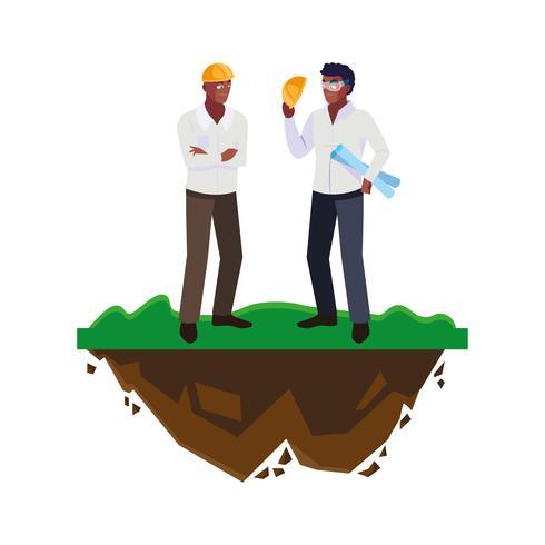 männliche Erbauererbauer der Afroarbeiter auf dem Rasen vektor