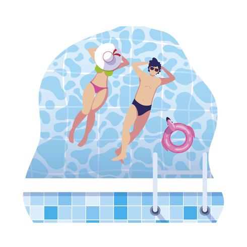 junges Paar mit Badeanzug im Pool schweben vektor