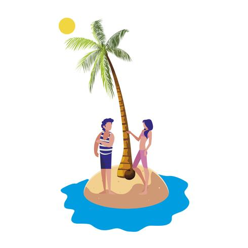 kleiner Junge mit Frau am Strand Sommerszene vektor