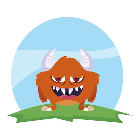 lustiges Monster mit Hörnern auf dem Gebiet vektor