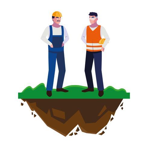 manliga byggare konstruktörer arbetare på gräsmattan vektor