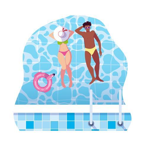zwischen verschiedenen Rassen Paare mit dem Badeanzug, der in Wasser schwimmt vektor