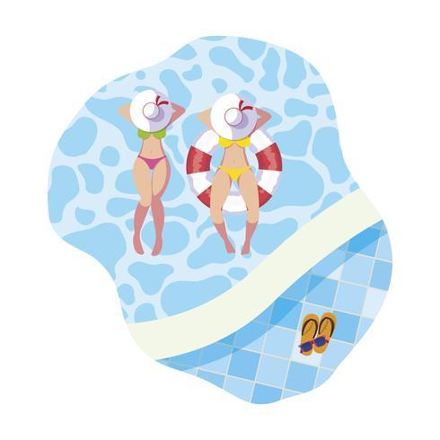 Mädchen mit Badeanzug und Rettungsschwimmer schweben im Pool vektor