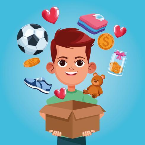 Kinderspenden-Nächstenliebe-Cartoon vektor