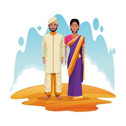 indiska par indisk tecknad film vektor