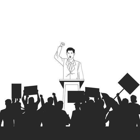 Mann macht eine Rede und Publikum Silhouette vektor