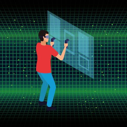 Virtuell verklighet och vänner-tecknade filmer vektor