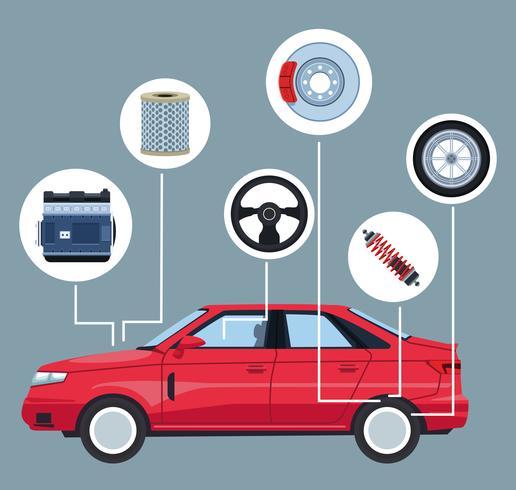 Bilfabrik och delar vektor