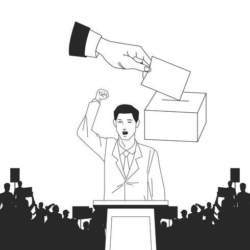 Mann macht eine Rede und Publikum Silhouette und Abstimmung vektor