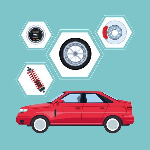 Autofabrik und Teile vektor